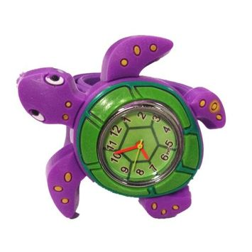 Cute 3d Cartoon Sea Animal Watch Children's Rubber Snap-on Slap Cuff Watch Gifts Idea (Blue Whale)