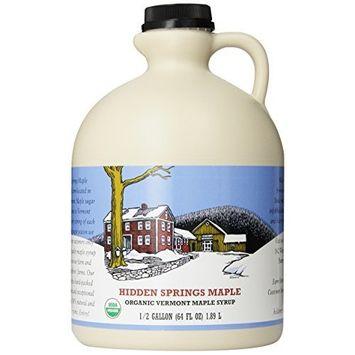 Hidden Springs Organic Vermont Maple Syrup, Grade A Amber Rich, 64 Ounce, 1 Half Gallon, Family Farms, BPA-free Jug [Amber Rich]