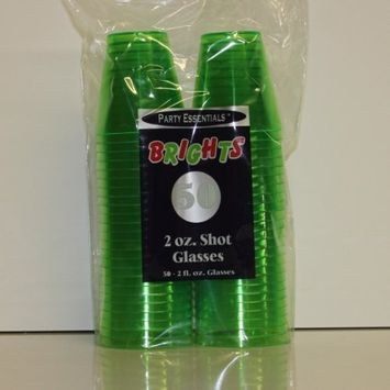 Party Essentials Hard Plastic 2-Ounce Shot/Shooter Glasses, Neon Green, 50 Count