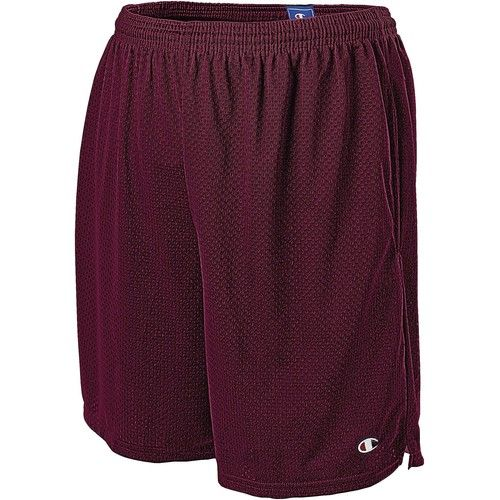 Long Mesh Men's Shorts with Pockets, Bordeaux Red - XXL