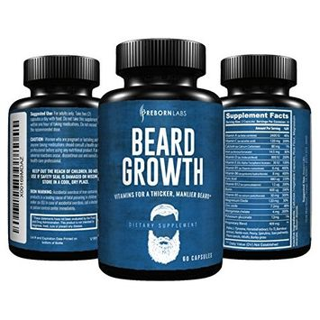 Beard Growth Supplement with Vitamins for a Fuller, Longer, & Thicker Beard | Promotes Faster Facial Hair Growth | Natural Complex with Biotin for Healthy & Strong Hair | 60 Capsules
