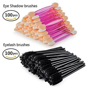 100 PCS Dual Sided Soft Eye shadow Brush Sponge +100 PCS Eyelash Mascara Applicator Combo, Disposable Make up tool kits