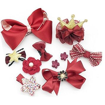 1Box 10PCS Lovely Hair Accessories Hair Bows Hair Clips Barrettes Bobby Pin Ribbon Band Hair Tie Hairpins Set For Baby Little Girls Children Kids Infant Toddlers Gifts