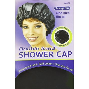 Annie X-Large Size Doubled Lined Shower Cap (Black) 4407