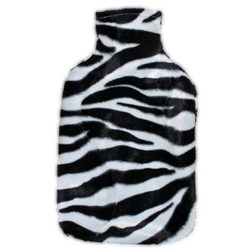 Warm Tradition Zebra Print Covered Hot Water Bottle -Bottle Made in Germany, cover made in USA