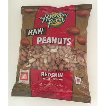 Hampton Farms Raw Peanuts, Redskin, Shelled - Skin On, 1 pound