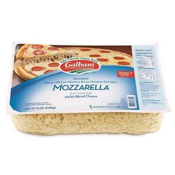 Galbani Professionale Premium Whole Milk Low Moisture Mozzarella Part Skim Low Moisture Cheese Shred Blend, 5 Pound -- 6 per case.