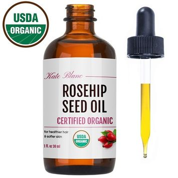 Rosehip Seed Oil by Kate Blanc. USDA Certified Organic, 100% Pure, Cold Pressed, Unrefined. Reduce Acne Scars. Essential Oil for Face, Nails, Hair,...