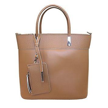 Nicoli 'Chic' Designer Italian Leather Tote Bag Handbag - Tan Brown