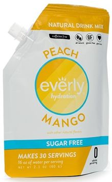 Everly Hydration - Peach Mango - Natural Caffeinated Drink Mix - 30 servings in Pouch - Sugar Free, Low Calorie