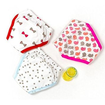 Jomin Infant Baby Girls Reusable 3 Pack Toilet Training Pants Nappy Underwear Cloth Diaper