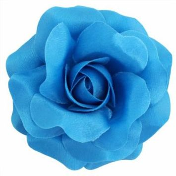 Sara Monica Flower Hair Clip and Pin: Rose: Made in the USA (Turquoise)