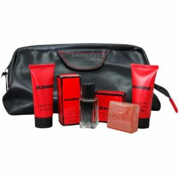 Jil Sander Feeling Man By Jil Sander For Men. Gift Set ( Eau De Toilette Miniature 7 Ml + Body Lotion 0.7 Oz + Shower Gel 0.7 Oz + Soap + Bag)