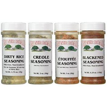 River Road By Fiesta MSG-Free Cajun Seasoning Favorites 4 Flavor Variety Bundle: (1) Blackened Seasoning, (1) Creole Seasoning, (1) Etouffee Seasoning, and (1) Dirty Rice Seasoning, 1.75-4.25 Oz. Ea. (4 Bottles Total)
