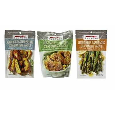 Red Fork Seasoning Sauce 3 Flavor Variety Bundle: (1) Red Fork Garlic Roasted Potato Seasoning Sauce With Balsamic, Rosemary & Olive Oil, (1) Red Fork Lemon Herb Asparagus Seasoning Sauce With Garlic & Olive Oil, and (1) Red Fork Rosemary Chicken...