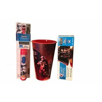 Ready Set Go - 3pc Star Wars Oral Hygiene Set 1) StormTrooper Battery Powered Spin Toothbrush 2) Crest Pro-Health Jr Disney Star Wars Toothpaste 3) Star Wars Rinse Cup