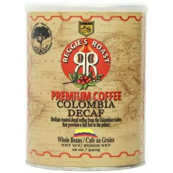 Reggie's Roast Colombia Decaffeinated Whole Bean Coffee, 12-Ounce Cans (Pack of 3)