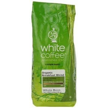 White Coffee Organic Breakfast Blend (Whole Bean), 12-Ounce Packages (Pack of 2)