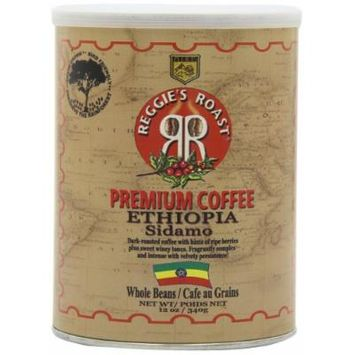 Reggie's Roast Ethiopia Sidamo Whole Bean Coffee, 12-Ounce Cans (Pack of 4)