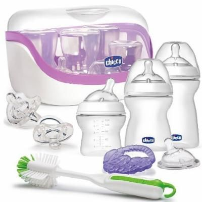 Chicco NaturalFit All You Need Starter Gift Set - Bottles, Pacifiers, Sterilizer