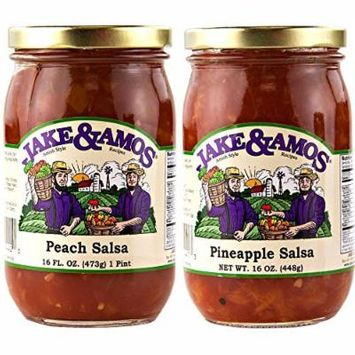 Jake & Amos Peach Salsa & Pineapple Salsa / 2 - 16 Oz. Jars