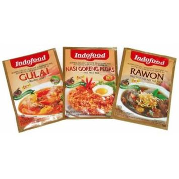 Indofood Instant Indonesian Seasoning Mix (Pack of 3, Variety) Oriental Curry, Hot Fried Rice, Spicy Beef in Black Nut Soup