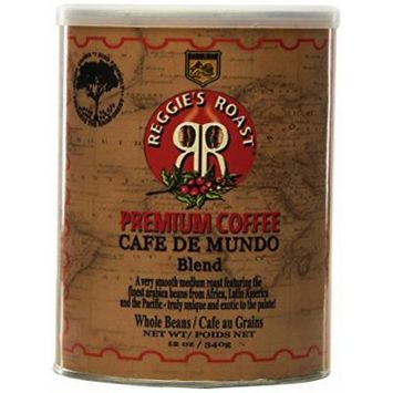 Reggie's Roast Cafe De Mundo Blend Whole Bean Coffee, 12-Ounce Cans (Pack of 3)