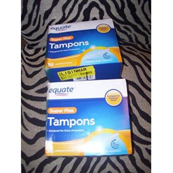 Equate SUPER PLUS Tampons 36 count (2 Boxes)